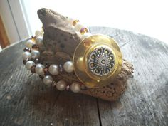 Vintage button with faux pearl  and amethest by aPrairiePeddler, $13.00