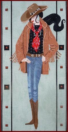 Deadwood Debi is a western themed needlepoint canvas design by Leigh's Designs available at the Needle Nook of La Jolla. Needlepoint Designs, Needlepoint Canvases, Everything Cross Stitch, Canvas Designs, Cowboy And Cowgirl, Rug Hooking, Needlework, Spiderman, Superhero