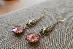 Antiqued Brass Drop Earrings with Special Effects by UrsyllaBs, $38.00
