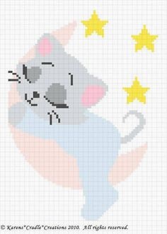SLEEPY KITTEN ON THE MOON. This graph pattern will make a beautiful heirloom afghan done in single crochet, the afghan or Tunisian crochet stitch, knit, or counted cross stitch onto the background. Crochet Afghans, C2c Crochet, Manta Crochet, Baby Afghans, Crochet Chart, Filet Crochet, Baby Blankets, Baby Afghan Patterns, Crochet Blanket Patterns