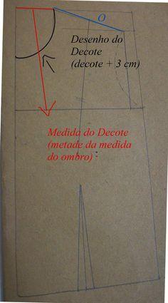 Agulha de ouro Ateliê: Como mudar o desenho do decote no molde base de blusa?