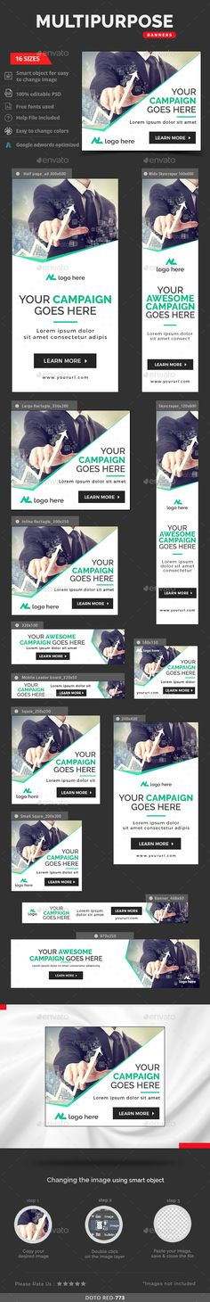 Business Banners by doto Promote your Products and services with this great looking Banner Set. 16 awesome quality banner template PSD files ready for you Display Banners, Display Ads, Web Banners, Banner Design Inspiration, Web Banner Design, Creative Inspiration, Banner Images, Banner Gif, Web Design Trends
