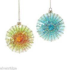Department 56 Filled Sea Urchin Ornament  Choice of Color Blue or Green