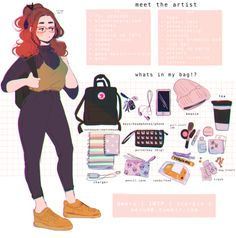 wanted to do the meme while it's still trending :^)! last time i did this was back in 2012 Manga Comics, Character Inspiration, Character Art, Bag Illustration, Meet The Artist, Aesthetic Art, Aesthetic Drawing, Cute Drawings, Outfit Drawings