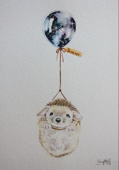Far, Far Away Hedgehog Art And Illustration, Illustrations, Watercolor Animals, Watercolor Paintings, Watercolour, Balloon Tattoo, Nursery Art, Cute Drawings, Cute Art