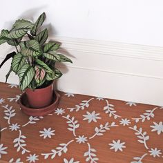 Roma Floor Stencil for floors, walls, furniture and fabric. Moroccan stencil. Repeating pattern. DIY projects Stencil Concrete, Floor Stencil, Stencil Fabric, Stenciled Floor, Stencil Diy, Stencil Painting, Stencils, Painted Floorboards, Painted Floors