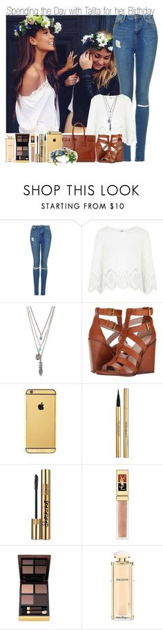 """""""Happy Birthday Talita"""" by elise-22 ❤ liked on Polyvore featuring Topshop, With Love From CA, Yves Saint Laurent, Pour La Victoire, Goldgenie, Tom Ford and Salvatore Ferragamo"""