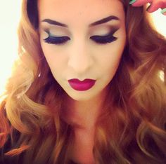 Old hollywood pinup look. Blended liner and maroon lips