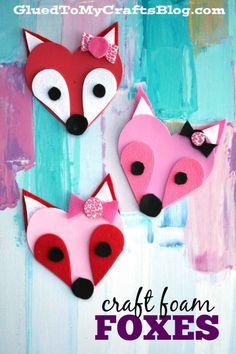 Craft Foam Heart Foxes - Kid Craft Idea