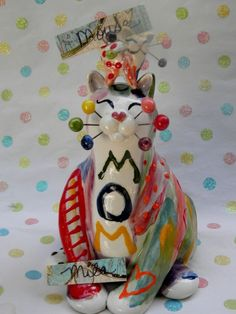 """""""Mila & baby Mouse"""" Mother's day Rainbow WhimsiClay Cat figurines #WhimsiClay"""