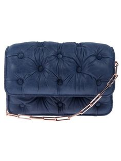 BENEDETTA BRUZZICHES  Faded blue leather clutch featuring a quilted texture, a flap design and a gold-tone rectangle link chain handle.
