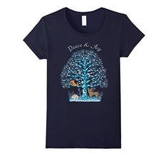Peace and Joy Winter Wildlife Tree t-shirt - Female Medium - Navy SpiceTree Designs http://www.amazon.com/dp/B018DPH47K/ref=cm_sw_r_pi_dp_p9Azwb0WSE1P4 Winter wildlife theme with snow covered tree, deer, squirrel, owl and other wildlife on t-shirt. Typography text above says Peace and Joy.