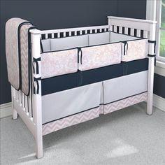 Pink and Navy Custom 4-piece Crib Bedding Set | Pink and Navy Nursery Idea | Carousel Designs 500x500 image