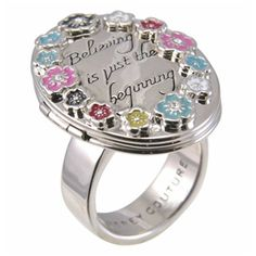 Disney Couture Silver Plated Believing Is Just The Beginning Locket Ring (Silver)(Large)