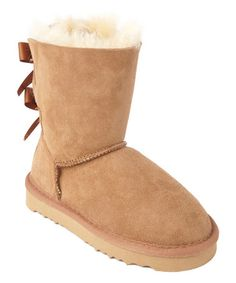 Another great find on #zulily! Chestnut Iris Mini Bow Shearling Boot by MOMO Grow #zulilyfinds