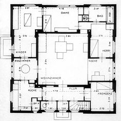 haus am horn, model experimental house in weimar exhibition by bauhaus Bauhaus Interior, Man Of The House, Good House, Model House Plan, House Plans, Sims House, Architecture Plan, Media Center, Interior Design Living Room