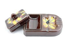 Vintage Art Deco Ceramic Cigarette and Ashtray by Vinteology Ceramic Smoker, Color Glaze, Chocolate Color, Box With Lid, Art Deco Design, Vintage Home Decor, Love Art, Geometric Shapes, Color Mixing