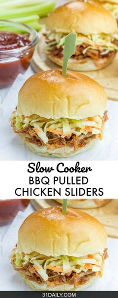 Slow Cooker BBQ Pulled Chicken Sliders, a favorite and easy way to prepare and enjoy tender barbecue chicken.  Slow Cooker BBQ Pulled Chicken Sliders | 31Daily.com