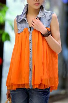 Chic Contrast Jean Collar Sleeveless Chiffon Blouse $74 replace with lace.