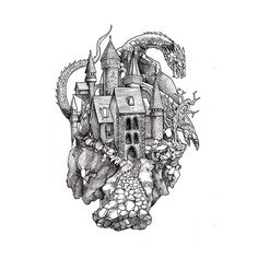 Dragon and Castle Tattoo Drawing