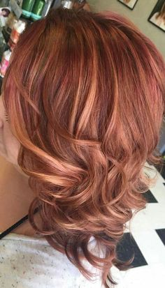 Rose gold with dark red roots