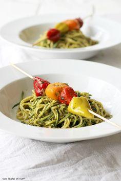 zucchini spaghetti with antipasto skewer