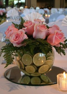 Pink and green centerpiece great idea for an AKA luncheon, tea or brunch.