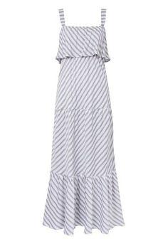 MISSINCLOF - Vestido longo listras babado - azul - OQVestir