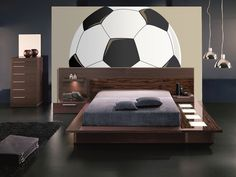gray bedroom with pop of color Mega Soccer Ball Paint-by-Number Wall Mural Make a BIG impression with this oversized Soccer Ball wall mural. Cropped for maximum visual impac Soccer Bedroom, Boys Bedroom Decor, Gray Bedroom, Modern Bedroom, Bedroom Ideas, Küchen Design, Interior Design, Grey Bedroom With Pop Of Color, Teen Girl Bedrooms