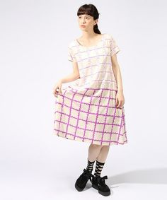 mintdesigns(ミントデザインズ)のPRINT DRESS(ワンピース)|パープル系その他