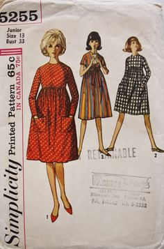 1960s High Waist Empire Dress Simplicity 5255 Bust 33 Vintage Sewing Pattern by BluetreeSewingStudio on Etsy