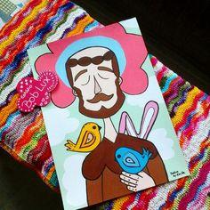 Pôster ilustração São Francisco em papel couchê 250grs tamanho A3 (42cm X 30cm com 0,5 cm de borda).  Reprodução fiel a original, ilustrada pintada à mão por artista plástica.  Imagem com direitos autorais.