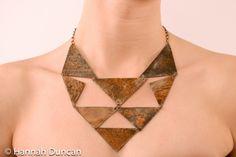 Rusty metal geometric necklace