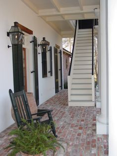 Original Bevolo French Quarter lamp designed in the by renowned architect A. Hays Town and Andrew Bevolo New Orleans Homes, New Homes, New Orleans Architecture, Secret House, Rustic Chic Decor, Brick Flooring, Floors, Copper Lighting, Exterior Makeover