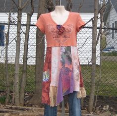 Upcycled Babydoll Tunic or Dress, Upcycled Clothing, Long Tunic