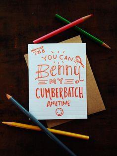 Doodle Valentine -  Benedict Cumberbatch letterpress. Show the sherlock love!