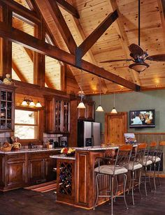 Lastest Home Design. Getting Bored With Your Home? Use These Interior Planning Ideas. There are many simple ways to learn about decorating your space. Vaulted Ceiling Lighting, Kitchen Ceiling Lights, Vaulted Ceilings, Kitchen Lighting, Open Ceiling, Cabin Lighting, Ceiling Fan, Log Home Kitchens, Rustic Kitchens