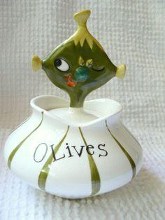 Vintage 1958 Holt Howard Pixieware Olive Jar- a Mid Century charmer