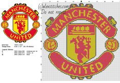 Manchester United soccer team logo free cross stitch pattern
