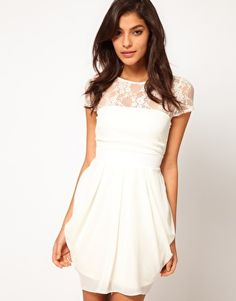 Enlarge ASOS Tulip Dress With Lace Top- Bridesmaids! @Sarah Chintomby Summers @Jacqueline Smith @Sharleanna Jensen Jensen   it says cream..looks pretty white..
