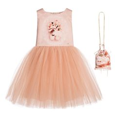 Junona Girls Pink Satin & Tulle Ballerina Dress & Bag at Childrensalon.com