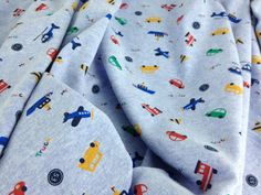 Baby Cotton Interlock Knit Fabric Transportation Cars Boats Helicopters 1 Yard