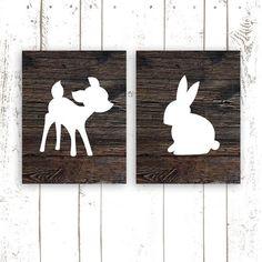 Deer and Bunny Nursery Art Prints, Set of Two 8x10 Inch Nursery Deer Print Woodland Nursery Print on Wood