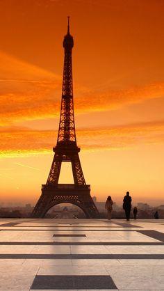Sunset Paris -  download the HD version at iphone5wallpapershub.com