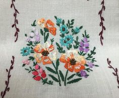 Embroidery  Vintage Linens  Embroidered Tea by supplysideeconomics