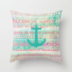 Sailing Aztec | Emerald Nautical Anchor Pastel Watercolor Aztec Throw Pillow by Girly Trend - $20.00