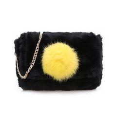 Color Blocking Mini Fur Shoulder Bags Chains Straps 3764