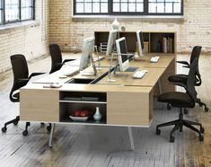 Now available at Smart Furniture: the Bivi Shared Office for Four by Turnstone. Modern workplace, meet the Bivi modular desking system. Shared Office, Office Set, Office Table, Office Workspace, Open Office, Office Decor, Office Space Design, Modern Office Design, Office Furniture Design