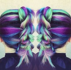 Purple green braided dyed hair color @my_lavish_looks