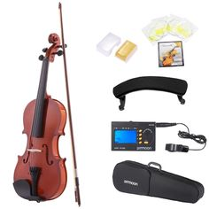 ammoon 1/4 Natural Acoustic Violin Fiddle Spruce Steel String with Case Arbor Bow for Music Lovers Beginners +  ammoon AMT-01GB Multifunctional 3in1 Digital Tuner + Metronome + Tone Generator for Chromatic Guitar Bass Violin + 4pcs A Set of Violin Strings